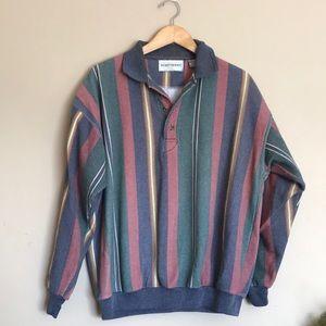 Vintage unisex striped oversized button sweatshirt